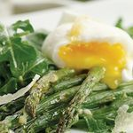 My hubby would probably like this...watch the carbs if you eat it with bread! Asparagus Salad Topped with Poached Eggs  Roasting brings out a toasty flavor in the asparagus. We like this salad with medium-set poached eggs so the yolks are still a little runny, but poach your eggs for the full 8 minutes if you prefer hard-set yolks. Calories - 239 Carbohydrates - 9g Fat - 18g Protein - 13g Sodium - 361mg