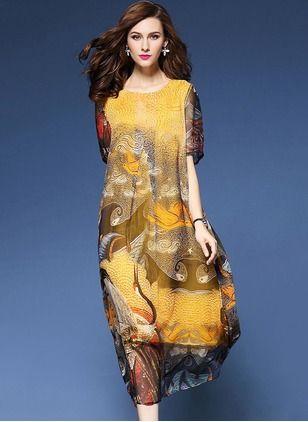 Silke Blomster Halv-ermet Midi Elegant Kjoler (1034302) @ floryday.com