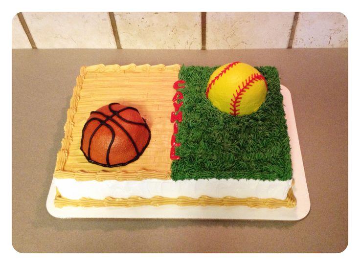 A Half Softball Basketball Sheet Cake Birthday Party