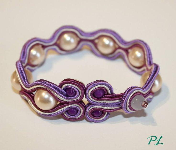 Bracciale soutache con perle e pietre viola lungo 18 cm by Paola Longo creazioni https://www.facebook.com/pages/Paola-Longo-creazioni/615398268566782?fref=ts