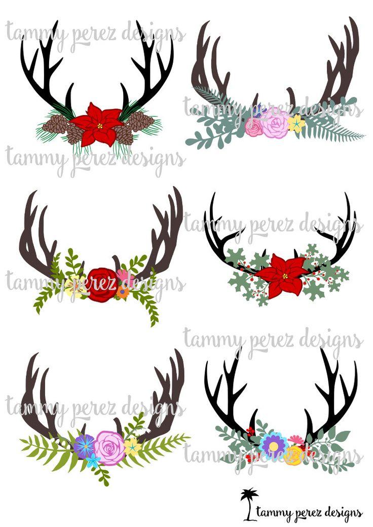 Deer Antler Flowers Monogram SVG File Digital File for