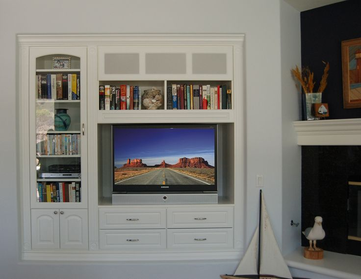 Niche media built in with corner fireplace traditional for Media center built in ideas