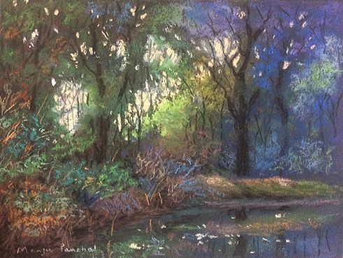Soft pastel painting of a landscape as seen in early morning at Bharatpur Bird Sanctuary.