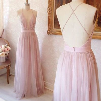 Simple A-line V-neck Long Pink Prom Dress with Criss Cross Back Prom Dress