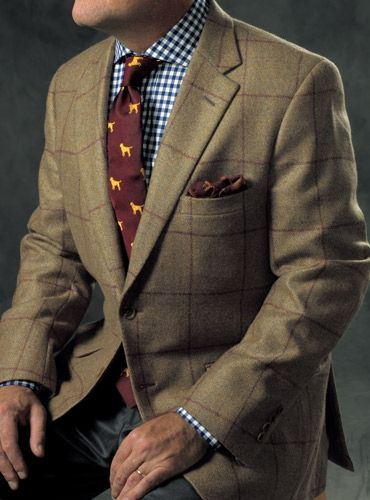 Sage Cashmere Sport Coat with Chocolate Brown Windowpane