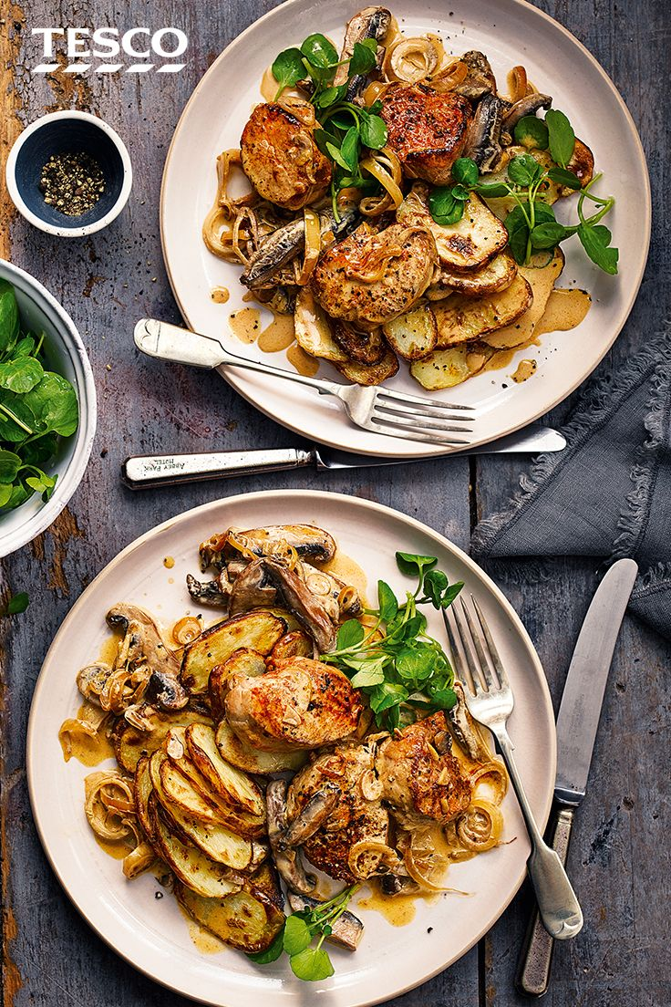 Served in a creamy wine and mushroom sauce, with a side of lemon potatoes, this pork fillet recipe is a delicious dinner idea for two. | Tesco