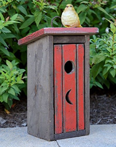 New Primitive Country Red Rustic OUTHOUSE BIRDHOUSE Wood Hanging Bird House
