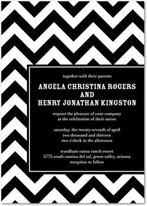 Black chevron wedding invitation
