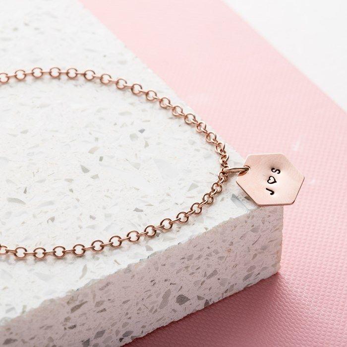 Personalised Posh Totty Designs Hexagon Bracelet | GettingPersonal.co.uk