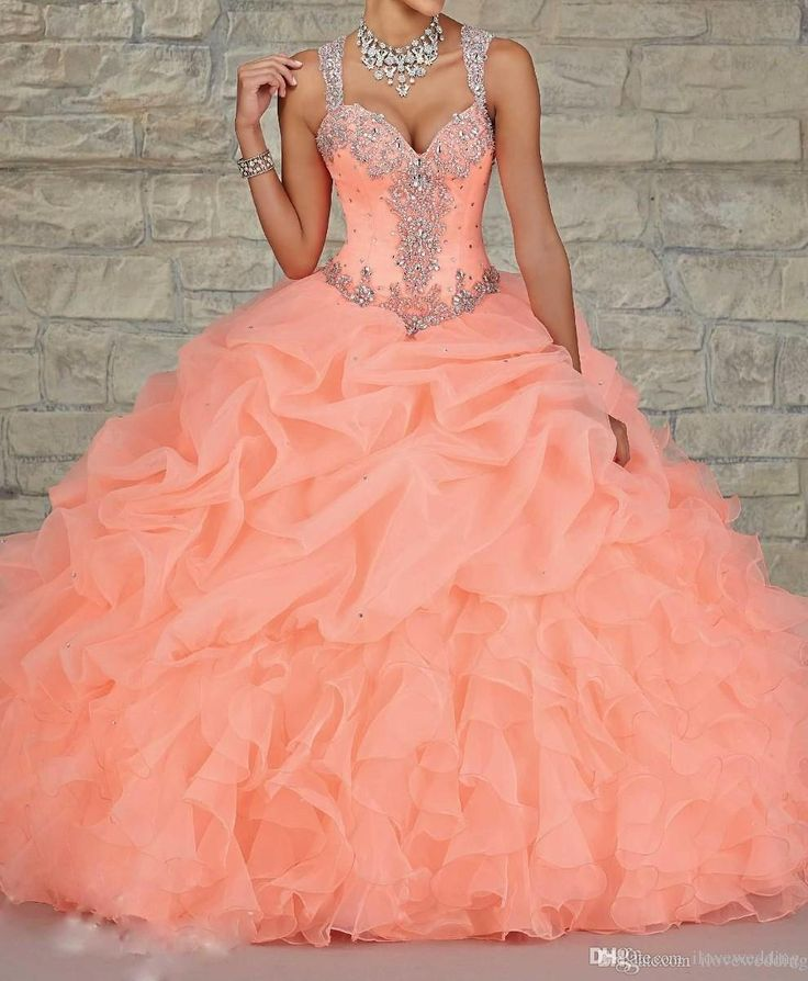 Wholesale Coral Organza Ball Gown Quinceanera Dresses Sheer Beads Crystal Draped Cheap Sweet 16 Dress Plus Size Hot Sale Prom Party Gowns 2015, Free shipping, $180.11/Piece | DHgate Mobile
