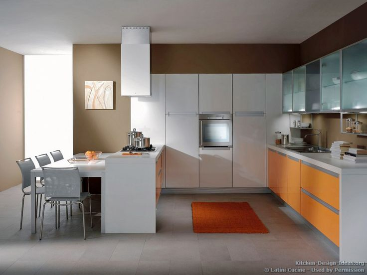 #Kitchen Idea Of The Day: A Contemporary Kitchen Featuring Orange And White  Cabinets And