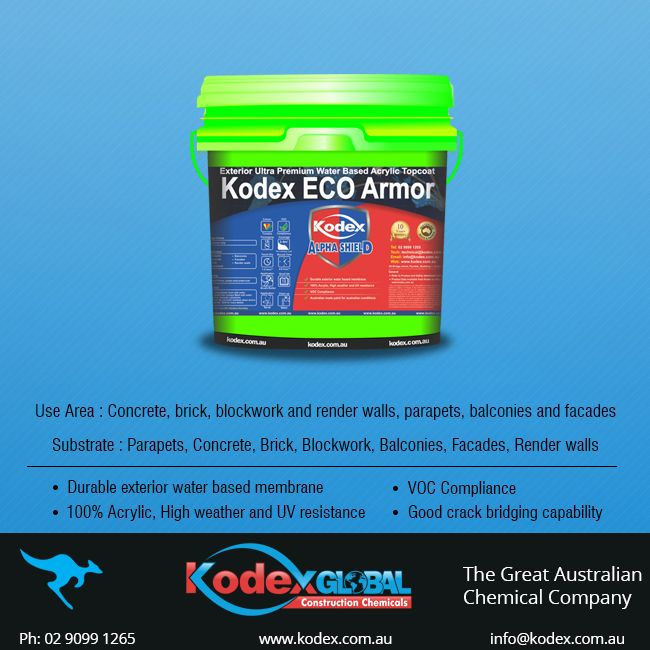 Tired of repairing costs? Want something durable and reliable for leaking problem? Then you need a waterproofing coating of Kodex Eco Armor, that can provide an excellent adhesion to concrete, fibrous cement, facades and render walls with good crack bridging capability and weather resistant property. Click here to find more information http://www.kodex.com.au/wp-content/uploads/2015/02/Kodex-ECO-armor.pdf
