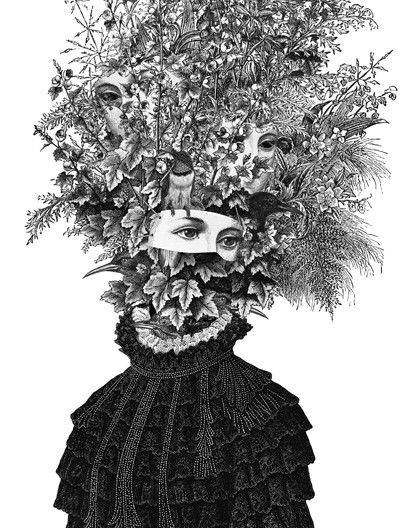 "Dan Hillier artist ""Lyra"" | Portrait | Flowers | Mask face |"