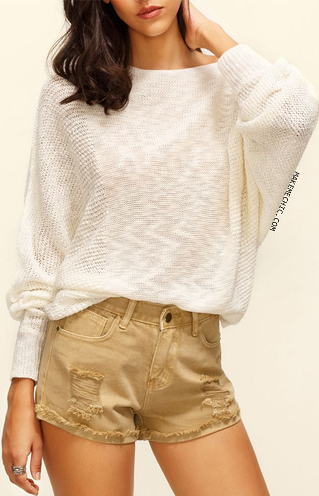 Beige Boat Neck Batwing Sleeve Knitted T-shirt