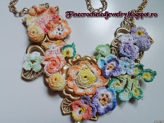 Free shipping Crochet Flower Necklace by FineCrochetedJewelry, $45.00