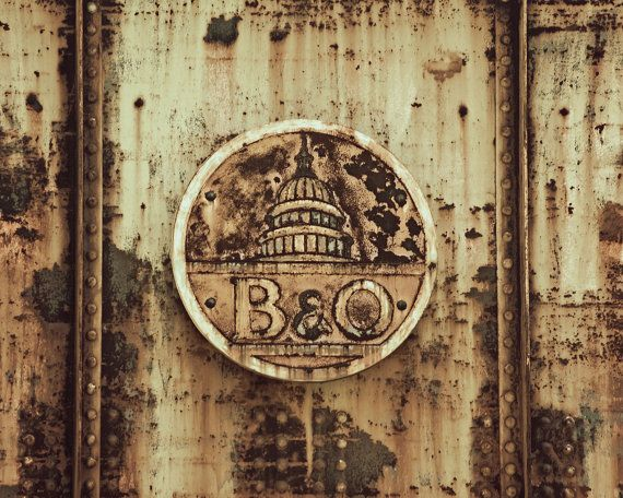 Train Fine Art Photography, 'B&O' Man Cave Decor, Railfan, Baltimore Ohio Train Company, Vintage Sign, Rusted Old Railroad Sign, Art Print
