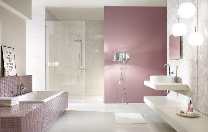 Baletia/Arole Bianco, Grys - płytki łazienkowe z motywem kwiatowym