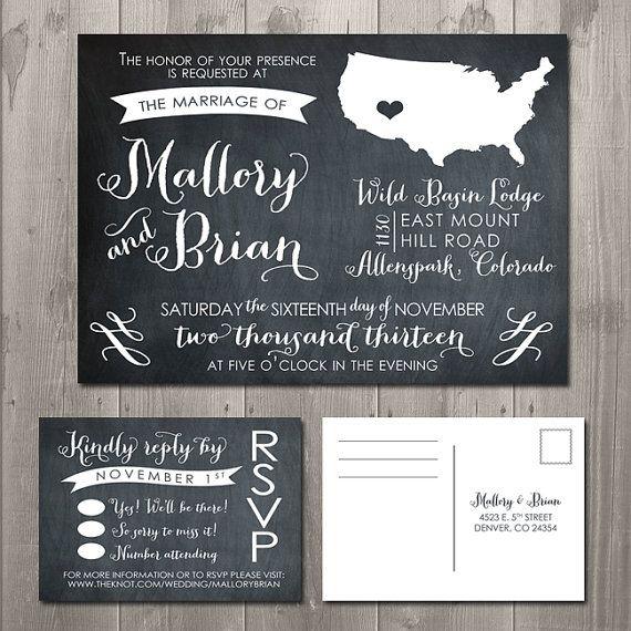 Diy Chalkboard Wedding Invitations: Swirly State Chalkboard Wedding Invitation & RSVP Set