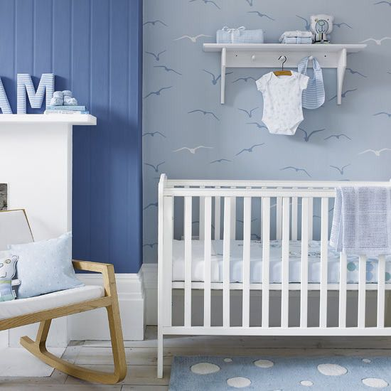Adorable Blue Baby Boy Nursery Seagull Wallpaper Blue Bubble Dot Rug Part 52