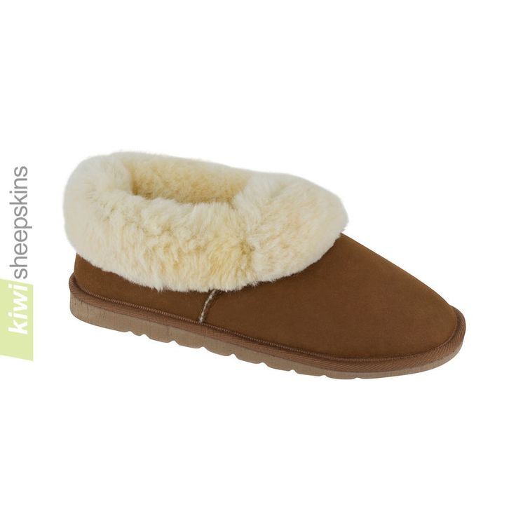 Hard sole sheepskin slippers for both men and women featuring a lightweight EVA sole.