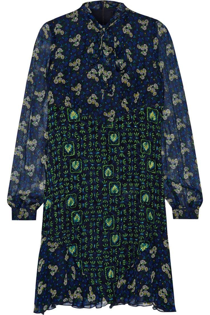 ANNA SUI Pussy-bow printed silk-chiffon mini dress. #annasui #cloth #dress