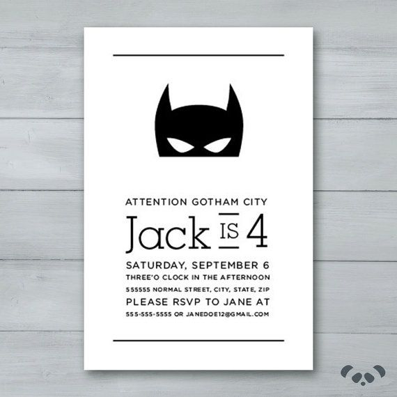Batman Birthday Invitation Batman Invite by PandafunkCreations                                                                                                                                                     More