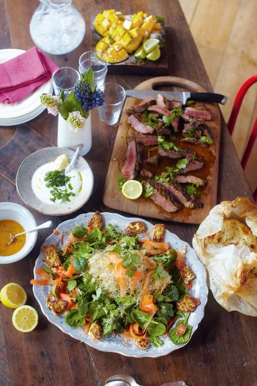 Steak indian-style, spinach & paneer salad, naan breads, mango dessert | Jamie Oliver | Food | Jamie Oliver (UK) - http://www.jamieoliver.com/recipes/beef-recipes/steak-indian-style-spinach-paneer-salad-naan-breads-mango-dessert