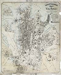 Woolcott & Clarke's map of the City of Sydney, 1854.  This map shows the city and inner suburbs including Balmain, Glebe, Chippendale and Redfern. Wharves and large estates such as the Riley Estate (Surry Hills) and the Ultimo Estate are labelled.