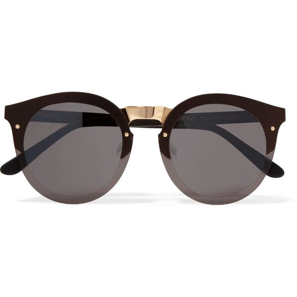 Illesteva Palermo round-frame gold-tone and acetate sunglasses (775 BRL) ❤ liked on Polyvore featuring accessories, eyewear, sunglasses, glasses, oculos, black, illesteva glasses, uv protection sunglasses, round frame glasses and round frame sunglasses