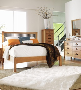 Contemporary Craftsman bedroom — sophisticated but simple furniture.