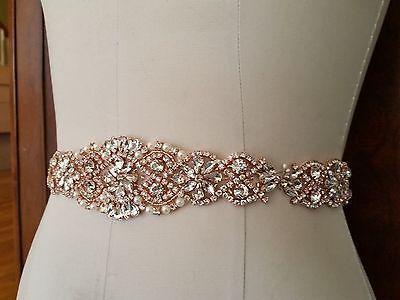 """Wedding Sash Belt - Rose Gold Crystal Pearl Sash Belt = 14 1/2"""" long = SILVER"""