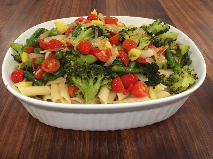 Light and easy summer pasta!  http://www.whitsway.com/pasta-primavera/  #WhitsWay #TracySays #Organic #OrganicLiving #Plantbaseddiet #vegan #mirin #pasta #pastaprimavera #cherrytomatoes #vegetables #dairyfree #glutenfree