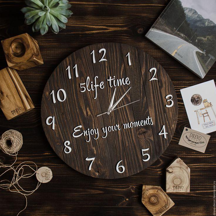 Купить Часы настенные деревянные стиль лофт настенные коричневые - коричневый, деревянный, деревянные часы