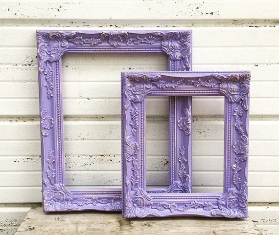 Purple Frame Set Of Two Frames One 11x14 And One 8x10 Ornate Picture Frames Sweet Chunky Ornate Lavender P Ornate Picture Frames Frame Vintage Picture Frames