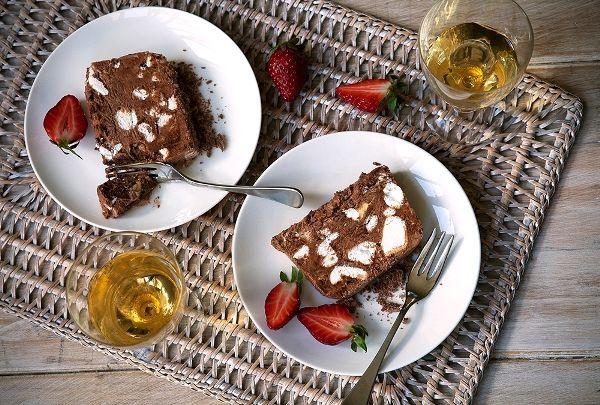 Creamy luscious semifreddo with chunks of crunchy meringue