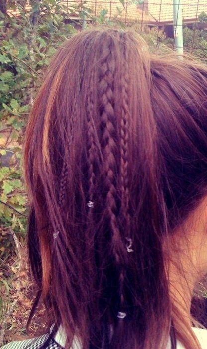 Ponytail with tiny braids ♥