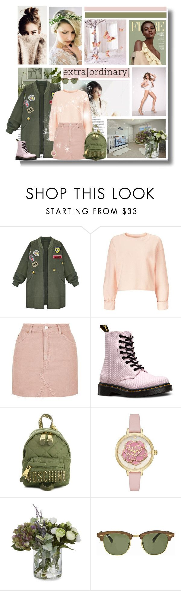 """Spring is nature's way of saying, 'Let's party!"" by kikusek ❤ liked on Polyvore featuring WithChic, Miss Selfridge, Topshop, Dr. Martens, Moschino, Kate Spade, Laura Ashley, Ray-Ban, Spring and Pink"