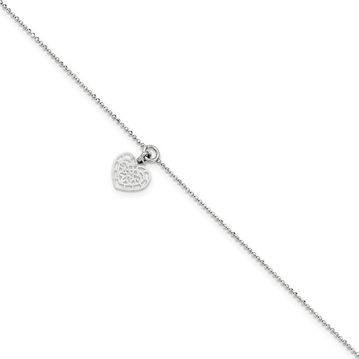 .925 Sterling Silver 1.00MM Heart Charm Anklet Bracelet, 10 Inches *** Read more  at the image link. (This is an Amazon Affiliate link and I receive a commission for the sales)