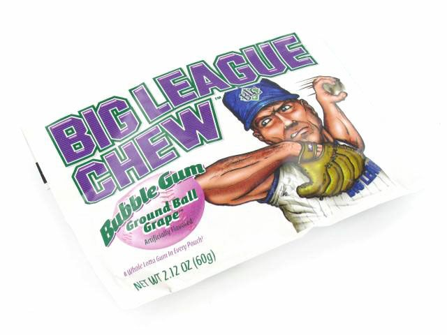 Unique Grape Purple Bubble Gum from the 1980s   $1.69   http://sanduskycandy.com/big-league-chew-grape-pouch/