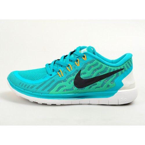 Nike Free 5.0 Billig Ny Dam Löparskor Blå Grön