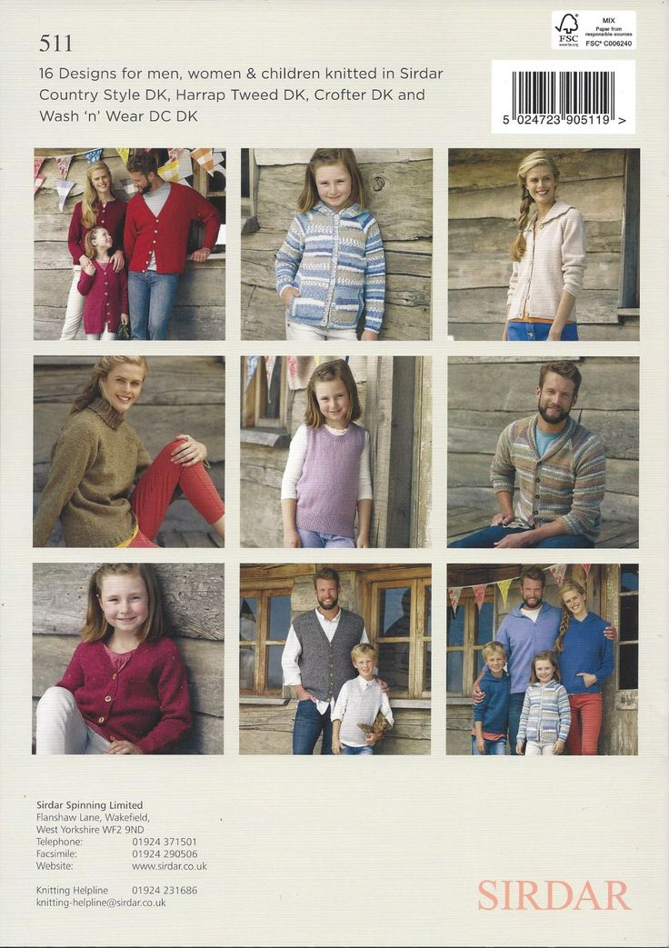 Sirdar Book 511 Basic DK Knits 16 knit designs for men, women, & children in DK (#3) weight yarn