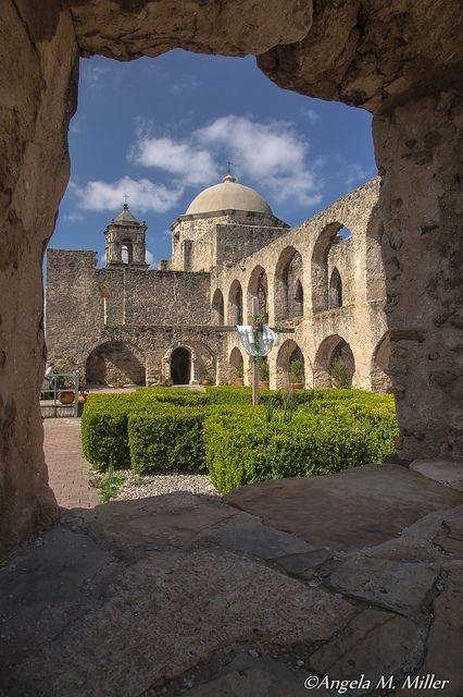 Mission San Jose in San Antonio, Texas, one of the beautiful missions on the Mission Trail.