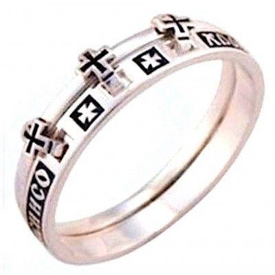 """Двойное церковное кольцо с молитвой """"Господи, спаси и сохрани мя"""" из серебра 925 пробы фото"""