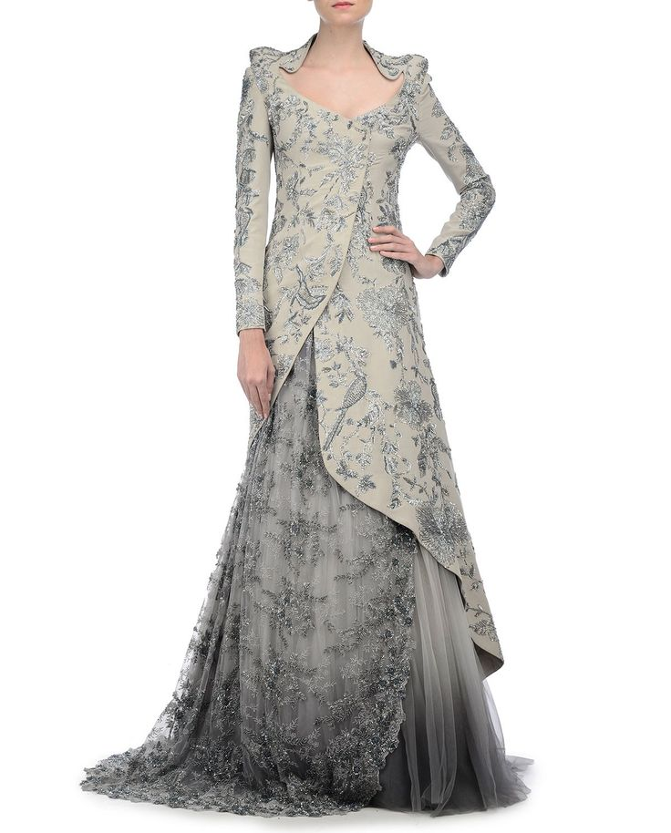 Embroidered Gray Jacket and Lengha