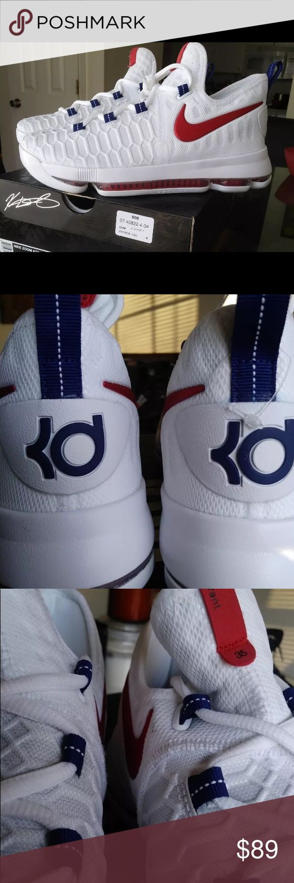 New KD9 Kevin Durant Olympic Red White Blue Zoom 🎉New KD9🎉  Size 6Y fits 7.5 or 8 in women's   Very great looking basketball shoes with amazing comfort. Don't end up paying those high prices when you can get them for an affordable price.  🚫No refunds 🚫No low ballers 💯Authentic   NMD, AVD, EQT, Mastermind, Primeknit, tubular, Zx women's running shoes, women's basketball soccer. Girly shoes NMD adidas, Jordan 1, Jordan 2, Jordan 3, Jordan 4, Jordan 5, Jordan 6, Jordan 7, Jordan 8, Jordan…