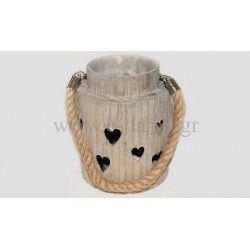 Διακοσμητικό Στρογγυλό κηροπήγειο καρδιές χερούλι κορδόνι με γυάλα Διάσταση: 11x16cm