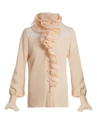 Ruffle-trimmed lace-insert silk blouse