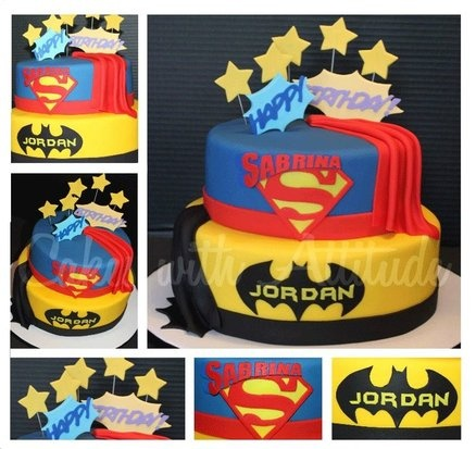 !!Double Superhero Cake  (Miranda, This is the base.  Change order.  Add Benjamin on Superman layer.  Add Kathryn on Wonderwoman layer.  Add belts with #, add spiderman plate, add wonderwoman layer)