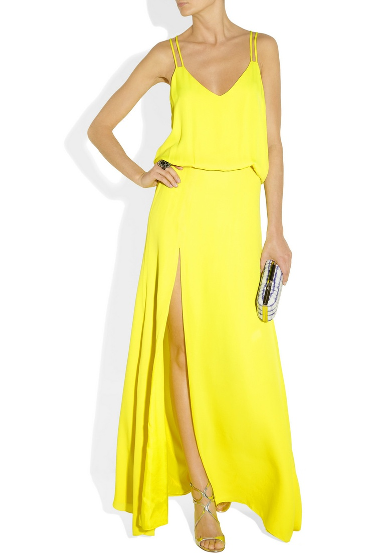 mason by michelle mason goldenrod silk-georgette gown