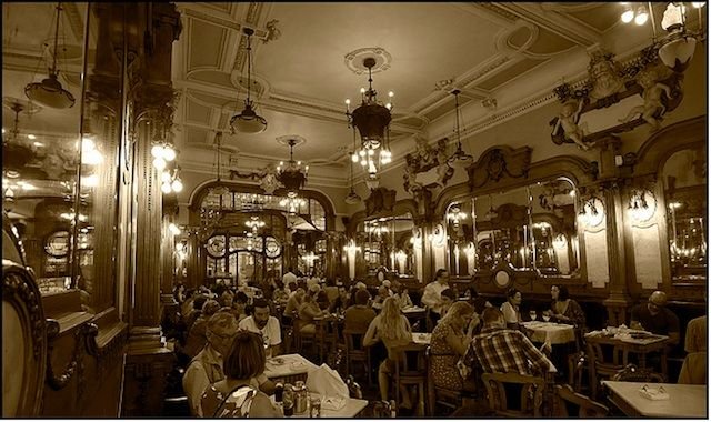 """Best historic cafe in Europe  Two of the most iconic historical cafes in Portugal, Majestic Cafe in Porto and Brasileira in Lisbon are on the list of the """"15 of the best historic cafes in Europe"""" by GlobalGrasshopper  #Portugal"""